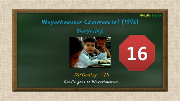 Weyerhaeuser Commercial (1996) (Paper Recycling) You're never too young to start recycling.